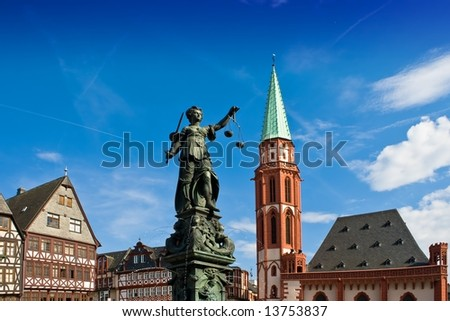 Statue of Lady Justice in Frankfurt's central square - stock photo