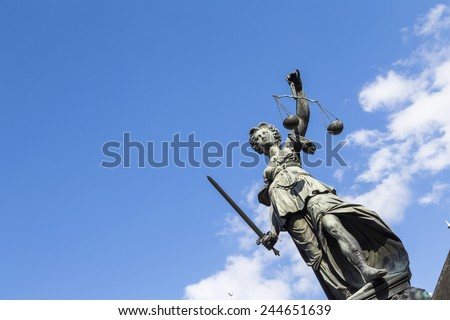 Statue of Lady Justice (Justitia) in Frankfurt, Germany - stock photo