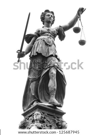 Statue of Lady Justice (Justitia) in Frankfurt, Germany. Isolated on white.