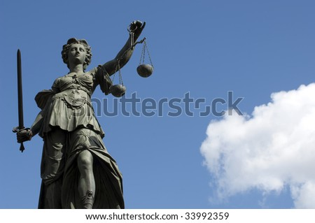 """Statue of Lady Justice """"Justitia""""  in front of the Romer in Frankfurt - Germany - stock photo"""