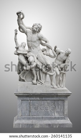 Statue of Laocoon and his Sons, also called the Laocoon Group, is a monumental marble sculpture. Statue in municipal park of Odessa. - stock photo
