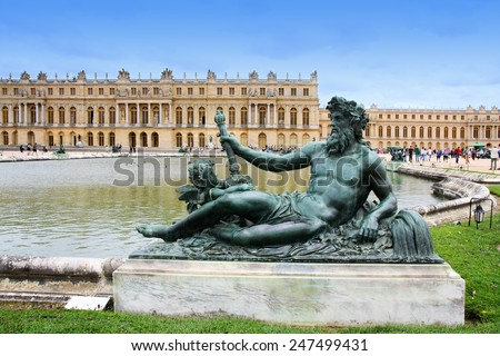 Statue of le Rhone at the water parterre at Versailles, Paris, France. Each of these nymphs represents a river in France. - stock photo