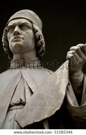 Statue of Leon Battista Alberti. Statue outside the  Uffizi, Florence - stock photo