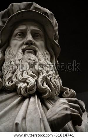 Statue of Leonardo da Vinci. Statue outside the  Uffizi, Florence - stock photo