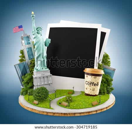 Statue of liberty and New York city buildings with empty photos.  - stock photo