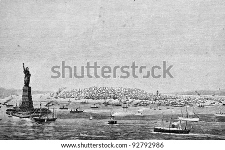 """Statue of Liberty and the harbor in New York. Engraving by Rashevsky from picture by painter Aivazovsky. Published in magazine """"Niva"""", publishing house A.F. Marx, St. Petersburg, Russia, 1893 - stock photo"""