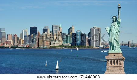 Statue of Liberty and the New York City Skyline - stock photo