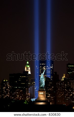 Statue of Liberty and Twin Tower Tribute - stock photo