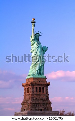 Statue of Liberty at Dusk - stock photo