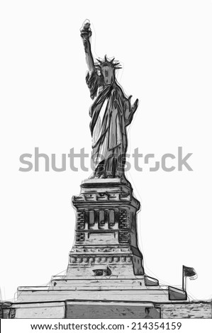 STATUE OF LIBERTY black and white illustration - stock photo