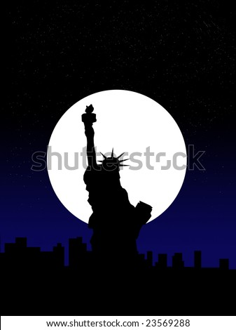 Statue of Liberty by a new York skyline