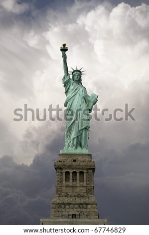 Statue of Liberty, front view. This is a great monument of New York City - stock photo