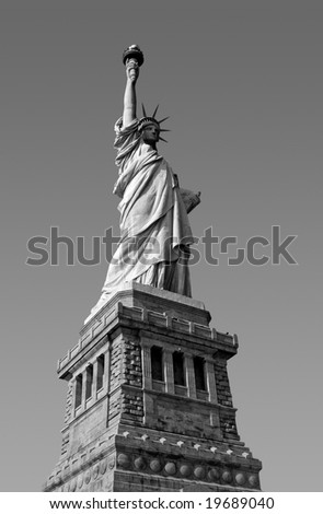 Statue of liberty in black and white - stock photo