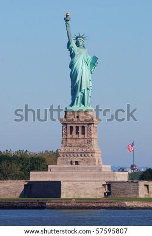 Statue of Liberty in New York City Manhattan Hudson River - stock photo