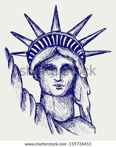 Statue of Liberty in New York City. Raster version - stock photo