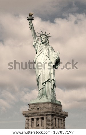Statue of Liberty in New York City - sepia toned image. - stock photo
