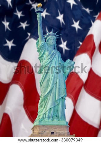 Statue of Liberty in New York City with American flag background - stock photo