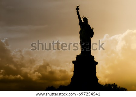 Statue of Liberty in New York, silhouette