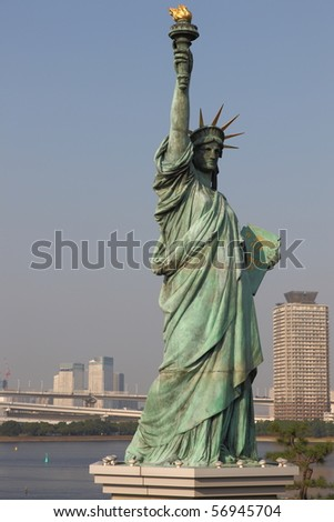 Statue of Liberty in Tokyo (There are 3 Statues of Liberty: Tokyo, New York and France) - stock photo