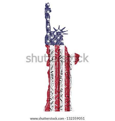 Statue of Liberty in typographic style and flags - stock photo