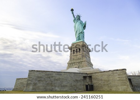 Statue of Liberty Island by Dawn - stock photo