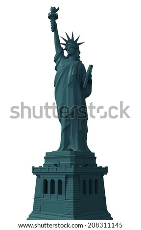 Statue of Liberty Isolated on Solid White Background 3D Illustration. New York Statue of Liberty. - stock photo