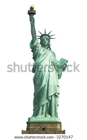 Statue of Liberty (isolated on white) - stock photo