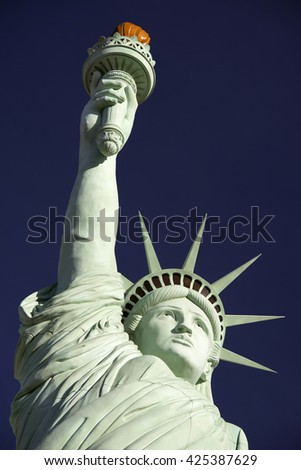 STATUE OF LIBERTY,  LAS VEGAS, NEVADA, USA  -  MARCH 25, 2016: Las Vegas was founded in May 1905 and incorporated in 1911. Pictured replica of the Statue of Liberty is placed by New York hotel - stock photo