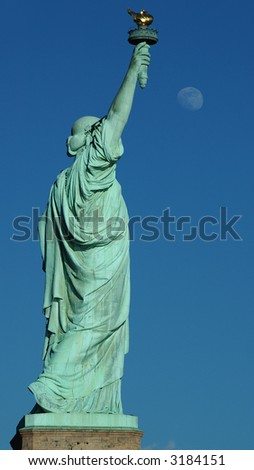 Statue of Liberty & Moon - stock photo