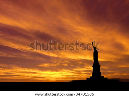 Statue of Liberty New York City at sunset illustration