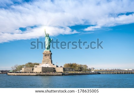 Statue of Liberty - New York  City from river Hudson - stock photo