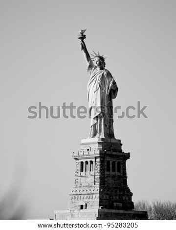 Statue of liberty new york city in black and white