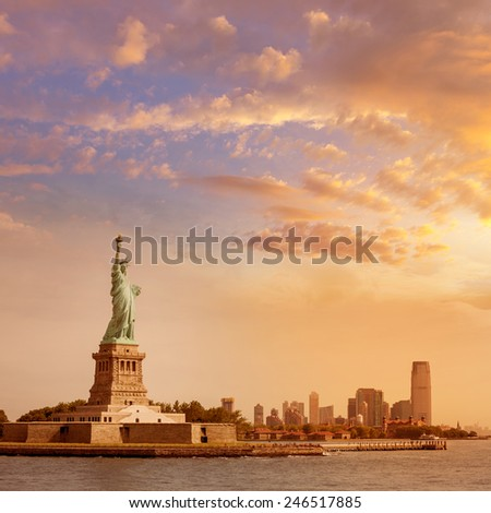 Statue of Liberty New York Manhattan background USA US - stock photo