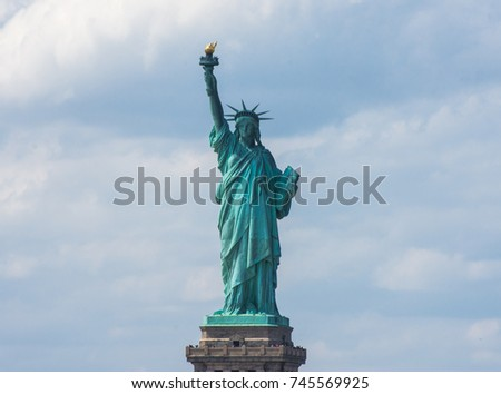 Statue of Liberty. New York, panorama of Manhattan with the