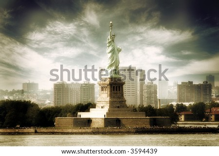 Statue of Liberty,New York,United States of America - sepia