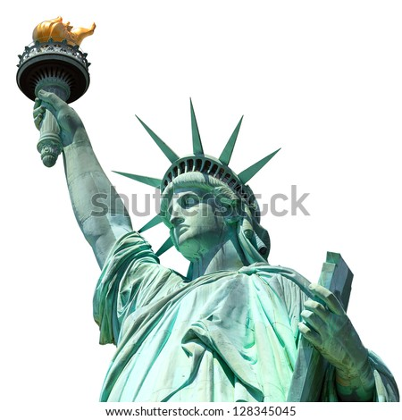 statue of liberty, new york, usa, isolated - stock photo