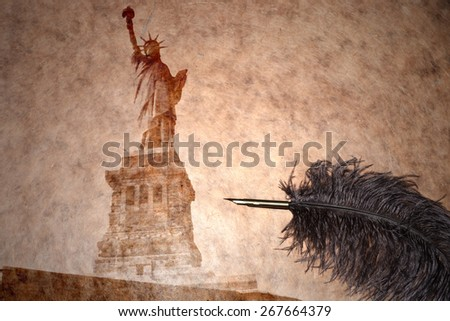 statue of liberty on a vintage paper with old pen - stock photo