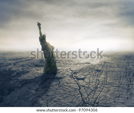 Statue of Liberty on apocalyptic background - stock photo