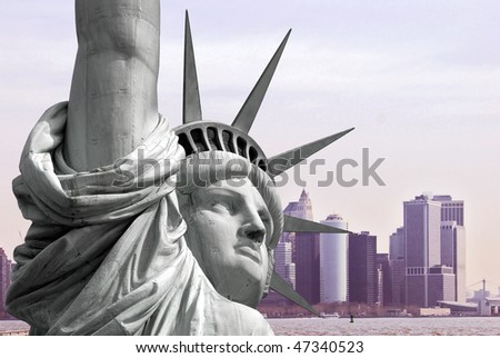Statue of Liberty on Island in New York City - stock photo