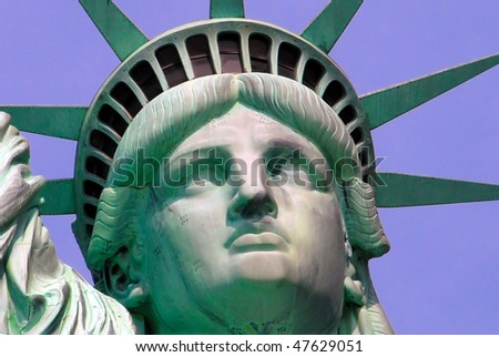 Statue of Liberty on Island in New York City - detail - stock photo