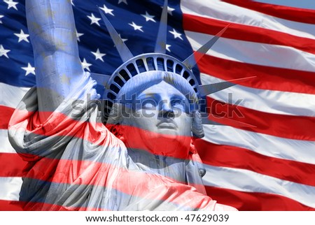 Statue of Liberty on Island in New York with flag of the United States of America - abstract - stock photo