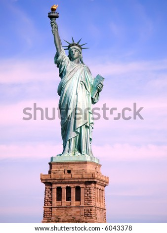 Statue of Liberty on Liberty Island in New York City. - stock photo