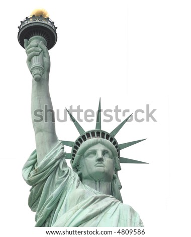 Statue of Liberty on Liberty Island in New York City. - isolated  on white background - stock photo