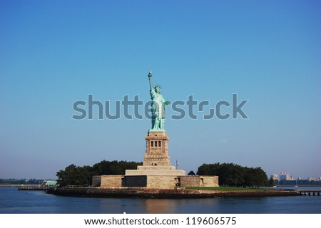 Statue of Liberty on Liberty Island in the morning in New York City, USA - stock photo