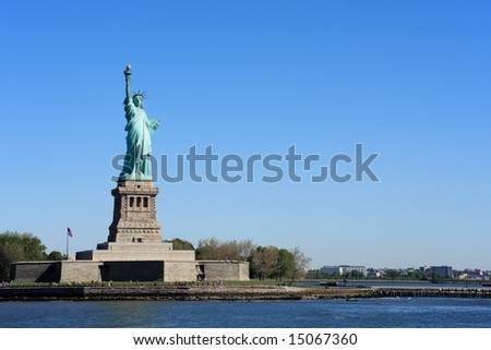 Statue of Liberty on Liberty Island - New York City, USA - stock photo