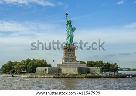 Statue of Liberty on Liberty Island on a sunny day, New York City, USA - stock photo