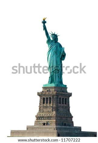 Statue of Liberty on pedestal, Liberty Island, New York, isolated on white background - stock photo