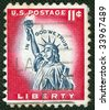 Statue of Liberty on US vintage postmark - stock photo