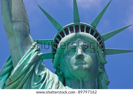 Statue Of Liberty one of the most popular Landmark of New York City and USA - stock photo
