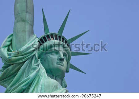 Statue of Liberty, one of the most recognizable landmarks of New York - stock photo